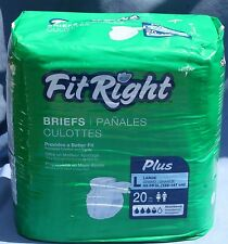 Fit Right Adult Briefs Sz L Absorbent Plus Package New Unopened Incontinence 20