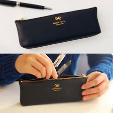 So cool real Black Ribbon Decoration Pencil Case cute Pen Bag Synthetic Leather
