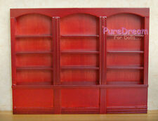 Dollhouse Miniature Furniture Red Bookshelf Bookcase Library Wood Cabinet WS005