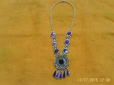 Moroccan Berber Ethnic Jewelry: Necklace Silver coloured with 7 Purple Discs NEW