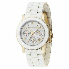 100% GENUINE NEW MICHAEL KORS LADIES WATCH MK5145 RUNWAY WHITE RUBBER, GOLD