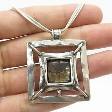 Israel Signed 925 Sterling Silver Smoky Topaz Gemstone Pendant Necklace 17""