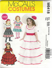 McCalls Sewing Pattern 6418, Spanish,Southern Belle Gypsy Costume, Child 3-8 New