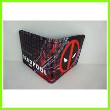 Marvel Comics Deadpool Logo Leather Short Wallet Purse Bi-Fold FREE SHIP + BADGE