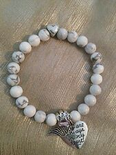 Pet Memorial Stone Bead Bracelet - Dog or Cat -Heart, Angels Wing, Paw Print