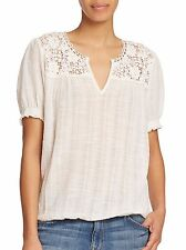 00557 NWD $298 Joie Ondine Top White Cotton Smocked Lace Knit Blouse M 6