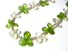 Large Fancy 925 Sterling Silver 155cttw Faceted Peridot & Prehnite Necklace F63