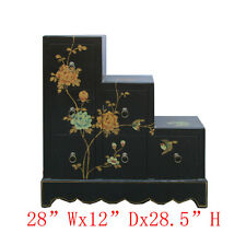 Black Leather Flower Bird Hand Paint Japanese Step Tansu Cabinet WK2920