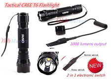 CISNO Tactical Flashlight Torch CREE T6 LED 1000LM w/Pressure Picatinny Rail Mou
