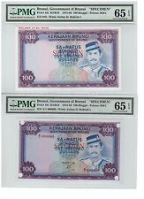 PMG65EPQ 73 BRUNEI 2nd Series Sultan Bolkiah $100 Printer proof Specimen 2p P10s