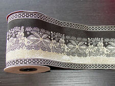 1m 10cm black silver ethnic jacquard embroidered ribbon lace applique trim decor