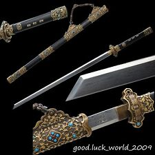 Boutique Chinese Sword Full Tang Sword Pattern Steel Copper Fitting Ebony Sheath