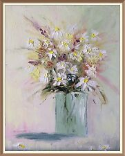 original oil painting signed daisies flowers floral textured home decor palette