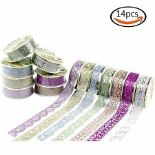 14 Rolls Multicolor Washi Lace Pattern Glitter Self-adhesive Tape Masking