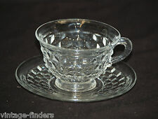 Old Vintage American Clear by Fostoria Flared Cup & Saucer Set Elegant Cubed