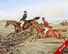 FOX HUNT HORSE JUMPING FENCE EQUESTRIAN HUNTING ART PAINTING REAL CANVAS PRINT