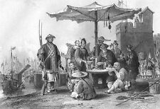 China, CHINESE EAT RICE MEAL BOWL AT POLICE STATION ~ 1843 Art Print Engraving