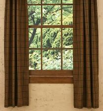 LINED CURTAINS 72WX63L PRIMITIVE SPICE MUSTARD RUST BLACK GREEN PLAID COTTON