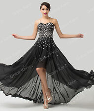 Black Strapless Masquerade Ball Long Short Evening Gowns Bridesmaid Formal Dress