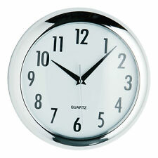 Large Chrome Round Finish Home Office Living Room Deco Quartz Wall Time Clock