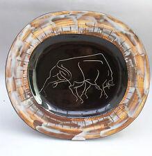 Plat Taureau atelier Cerenne Vallauris 1950/1960 french vintage ceramic R.Neveu
