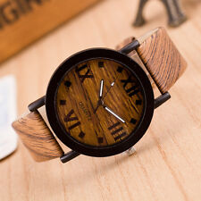 Simulation Wooden Relojes Men Quartz Women Watch Male Casual Leather Wristwatch3