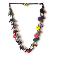 COLOURFUL COLORED COCONUT SHELL NECKLACE, TRIPLE STRINGS ROUND DISCS WITH CLASP.