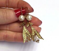 Antique Front Opening Pearl and Diamond Leaf Drop Earrings in 18K Yellow Gold