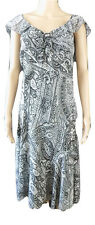 PER UNA  M&S SIZE 16 L,sheer,fully lined,paisley print,grey/silver dress,wedding