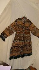 HOMELAND AUTH RAYON AFRICAN PRINT WOMEN'S SWEATER/COAT W/FRINGE & MATCHING PURSE