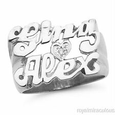 Personalized Diamond Double Name Ring 13MM Sterling Silver LOVE
