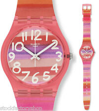 "N.I.B! Swiss Made Pink Plastic Women's/Girls Swatch Watch Quartz ""ASTILBE"" GP140"