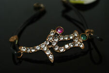 Turkish Ottoman 0.25 Ct Ruby &Emerald  Bronze Charm Boho Leather Tulip Bracelet