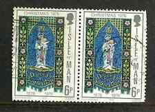 ISLE OF MAN USED STAMPS - PAIR USED CHRISTMAS 6p 1976 STAMPS