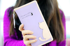 Cool womens leather wallet cat purse clutch wallet long card holder mobile bag