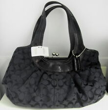 Coach Black Ergo Signature Pleated Frame Satchel F14380