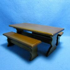 Dollhouse Miniature Kitchen Table with Bench Seating in Walnut M1987