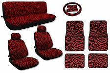 Red Zebra Seat Covers Plus Floor Mats Front/Rear/Bench/Steering Cover CS2