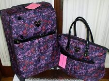 "Betsey Johnson Purple Skulls Roses Luggage 24"" & Laptop Tote Travel Bag Set NWT"
