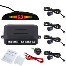 Black 4 Parking Sensors LED Display Car Reverse Backup Kit System USA SHIPPING