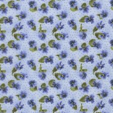 RJR Fabrics Debbie Beaves Lovely 1447 03 Small Pansy on Blue By the Yard