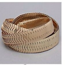 New Gold Wide Stretch Bracelet Interlocked 3 Layers Costume Bridal Wedding Prom