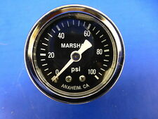 "Marshall Gauge 0-100 psi Fuel Pressure Oil Pressure Gauge Black 1.5"" Diameter"