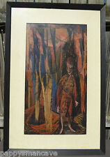 "ORIGINAL 1964 FRAMED LUBA ROSS ""IN THE WOODS"" PASTEL ABSTRACT PAINTING"