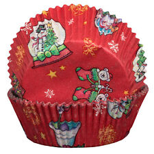Red with Snowglobes and Santa Cupcake Cases Xmas Christmas Baking Muffin