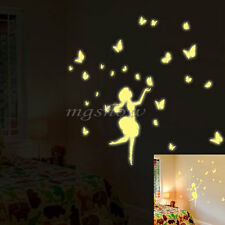 Glow Night Dance Butterfly Girl Home Room Removable Wall Sticker Decal Decor DIY