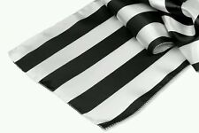 "20 Satin Table Runners12x108"" Black & White 2"" Stripe, Beautiful Wedding Party"