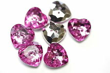 7 heart Shaped pink diamante style  buttons 15 mm approx sewing craft acrylic