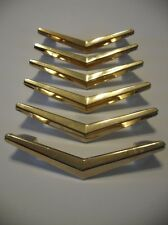 6 Vintage BRASS Plated CHEVRON Boomerang DRAWER Pulls Cabinet Door Handle Atomic