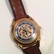 Fossil Dress Gold And Silver Tone Watch, Brown Leather Band - Vintage 1980 Style